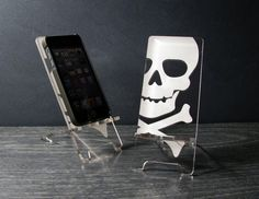 iPhone 5 or iPhone 4 Acrylic Skull Phone Stand by PhoneTastique, $24.00, etsy