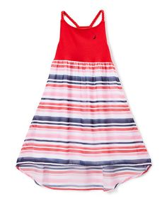 Loving this Red Stripe Hi-Low Chiffon  Dress - Infant, Toddler & Girls on #zulily! #zulilyfinds