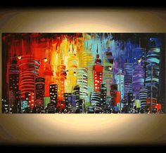 PAINTING original Painting abstract painting by jolinaanthony Original Artwork, Original Paintings, City Painting, Art Plastique, Painting Inspiration, Amazing Art, Art Projects, Painting Abstract, Light Painting
