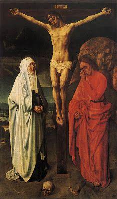 """""""Crucifixión"""". Es del pintor Hugo Van der Goes, data de 1470 y se encuentra en el Museo Correr, Venecia."""