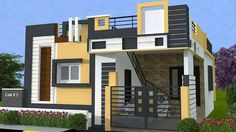 Front elevation designs, independent house, single story homes, bedroom cei House Front Wall Design, Single Floor House Design, Modern Small House Design, 2bhk House Plan, Duplex House Plans, Modern House Plans, House Elevation, Building Elevation, Front Elevation