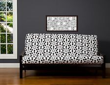 Wellrounded Black White Tan Circles Contemporary Futon cover