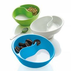 2 COMPARTMENT BOWL – why didn't I think of that! Keeps your cereal crunchy cause you scoop it into the milk as you eat it! No more soggy piles of mush!