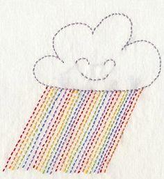 """Motif de nuage et pluie """"arc en ciel"""" en pointillés"""