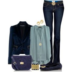 Blue Outfit with Tory Burch Aceessories by ...