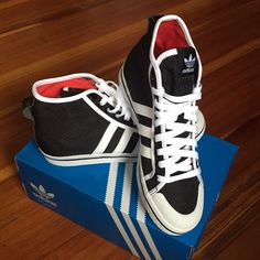 Adidas honey mid shoes. 7 New with box. Black. White stripes. Adidas red inside. Adidas Shoes Sneakers
