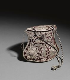 18th Century Turkish Velvet Handbag embroidered with silver thread.