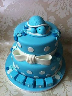 ♥ blue cake, turtle, baby shower