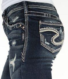 silver jeans co.   Suki destructed crochet skinny ankle jeans