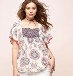 691e6109f39a4 Shop printed peasant tops like our plus size Medallion Peasant Top  available in sizes 14-