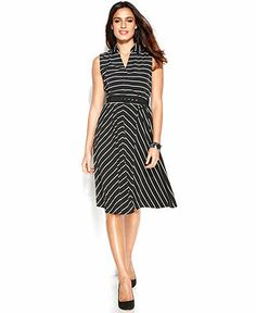 Dress, Alfani Sleeveless Striped Belted Dress , Macy's