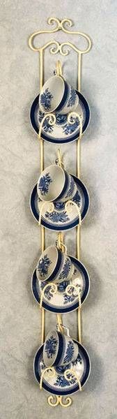 Cup and Saucer Hanger - White Hanger ||| home, kitchen, wall, tea