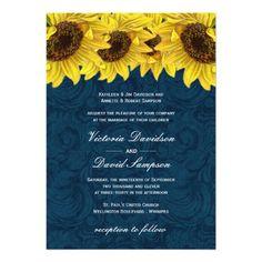 Navy Blue Sunflower Wedding Invitation