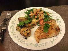 Pan-fried snapper with chick pea spinach salad and potatoes