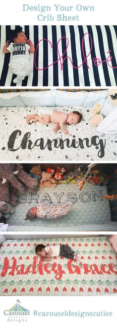 Create a nursery that is perfectly yours with a Carousel Designs organic cotton, fully-washable, personalized crib sheet. Every crib sheet is printed on certified organic cotton with certified organic inks exactly the way you design it, then expertly Custom Baby Bedding, Baby Bedding Sets, Crib Bedding, Baby Shower Gifts, Baby Gifts, Foto Fun, Everything Baby, Baby Time, Baby Boy Nurseries