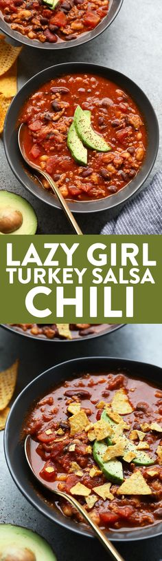 All you need is a crock pot and a few healthy ingredients to make this Lazy Girl Turkey Salsa Chili! Throw everything (uncooked!) into your slow cooker and you've got dinner ready in a flash. Healthy Weeknight Meals, Healthy Chicken Dinner, Quick Meals, Healthy Soup Recipes, Chili Recipes, Fall Recipes, Delicious Recipes, Crockpot Recipes, Best Chili Recipe