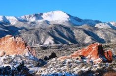 Snowy Pikes Peak - View from Garden of the Gods Club in Colorado Springs