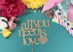 Cake Topper All You Need is Love Baby Shower Gender Sex Reveal Bridal Shower Church Cake Decoration Supply for Adult Kid Girl Boy Party by CutsOfConfetti on Etsy