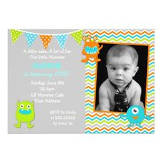 Boy Monster Birthday Invitations
