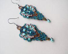 Peacock macrame earrings, beaded earrings, teal turquoise gold, macrame jewelry, beadwork, unique gift for her, dangle drop earrings