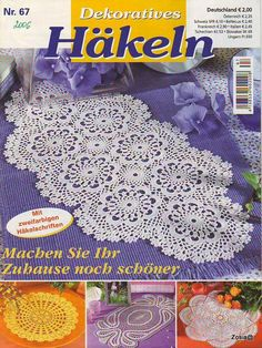 "Photo from album ""Dekoratives Hakeln on Yandex. Filet Crochet, Crochet Chart, Knit Crochet, Crochet Table Runner, Crochet Tablecloth, Knitting Magazine, Crochet Magazine, Crochet Dollies, Crochet Flowers"