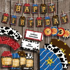 This item is unavailable Cowboy Birthday Party, Cowboy Party, Boy Birthday Parties, 3rd Birthday, Birthday Ideas, Cowboy Theme, Western Theme, Cowboy Cupcakes, Western Parties