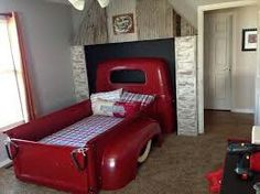 Kids Room: Fascinating Bedroom Idea With Amazing Classic Car Bed For Kids  Desk Fur Rug High Gloss Finish Car Bed Library Picture Frame Pouffe Red  Quilt Wall ...