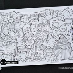 #inktober Day 8 - Happy Birthday #inktober2016 Doodle Coloring Page  My YouTube channel turned 3 this week  I guess it's celebration time for these doodle characters