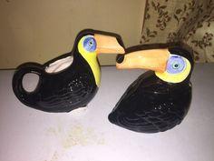 Toucan Tropical Bird Creamer and Sugar Bowl Handpainted for Cardinal Inc. #Cardinal
