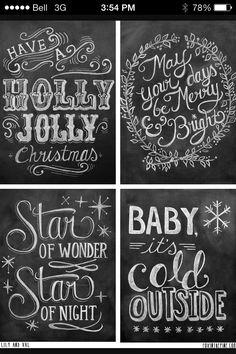 chalkboard designs- I love christmas time! Blackboard Art, Chalkboard Writing, Chalkboard Lettering, Chalkboard Designs, Chalkboard Ideas, Kitchen Chalkboard, Fall Chalkboard, Chalk Ideas, Wall Writing