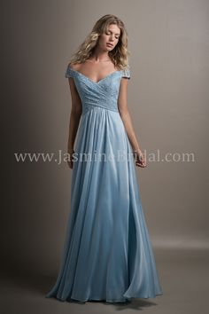 Jasmine Bridal - Belsoie Style L194014 in Lace/Belsoie Tiffany Chiffon, color Azure