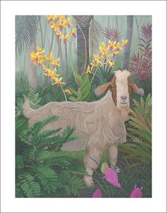 Kauai Goat with Orchids. Ellen Blonder