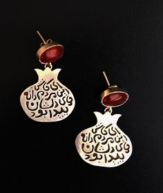 ALANGOO - Handmade Silver Persian Calligraphy Earrings