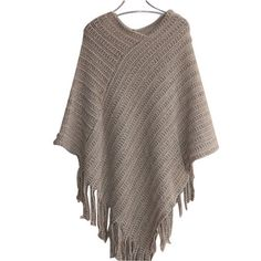 477fd73ae4 Womens Ladies Cape Coat Fringe Poncho Oblique Stripe Coat Bohemian Shawl  Scarf. Poncho TopsPullover ...