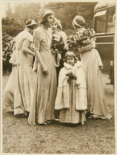 Princess Elizabeth of York as a bridesmaid for the wedding of Captain Henry Abel-Smith and Lady May Cambridge 1931