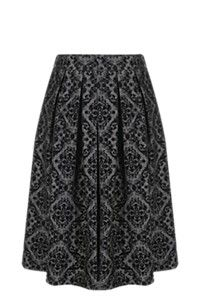 FLOCKED MIDI SKIRT