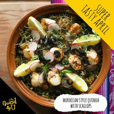 With Alfalfa Sprout Mix, Multi Seed MIx, Quinoa Sprout Mix and Radish Sprout Mix. Use the Sprout and Seed Mix of your choice to enhance this winter warmer dish! Radish Sprouts, Alfalfa Sprouts, Scallop Recipes, Winter Warmers, Moroccan Style, Scallops, Superfoods, Cobb Salad, Quinoa