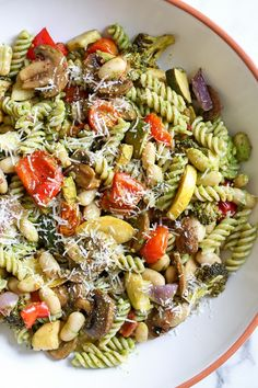 One bite of this Balsamic Roasted Veggie and White Bean Pasta and you'll want to make it all summer long! It's LOADED with veggies in every bite and finished with pesto and white beans. Roasted zucchini, yellow squash, zucchini, cherry tomatoes, re Bean Recipes, Vegetarian Recipes, Healthy Recipes, Veggie Pasta Recipes, Vegetarian Grilling, Healthy Grilling, Healthy Food, Healthy Eating, Veggie Dinners