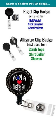 Adopt a Shelter Pet ID Badge Holder Retractable Reel Bottle cap. Awesome Bottle Cap Id Badge Holder for the waist,Lanyards or scrubs top More Information about the ID Badge holders : 1. Retractable Reel to Conveniently Keep ID, Key and Cell phone Safe 2.Secure metal clip for easy fasten to pocket, belt, waistband, lanyard, Keychain and more 3. Plastic with silver metal belt clip, Bottle cap sits on the top with design. 4. Size: approx 1.25inch diameter (Retractable nylon cord extends up…
