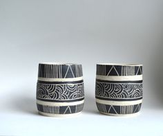 B L A C K S T O N E : set of ceramic tumblers by mbundy