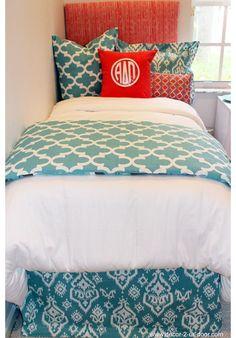 Coral & Aqua Spirit Designer Teen & Dorm Bed in a Bag   Teen Girl Dorm Room Bedding