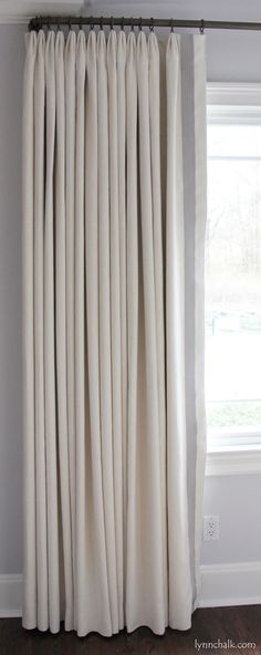 Custom Euro Pleated Drapes in Kravet Dublin Linen with Samuel & Sons Grosgrain Ribbon Trim (comes in over 70 colors) Drop Cloth Curtains, Pleated Curtains, Linen Curtains, Blackout Curtains, Sheer Drapes, Shower Curtains, Valance, Drapes And Blinds, Drapery Panels