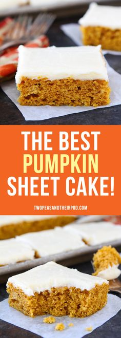 Pumpkin Sheet Cake with Brown Butter Cream Cheese Frosting is the perfect dessert for fall. The cake is easy to make, feeds a crowd, and always gets rave reviews. Everyone loves this easy sheet cake recipe! #pumpkinrecipes #cakes #pumpkins