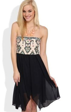 Deb Shops Strapless Dress with Sequin Tribal Print Bodice and Hanky Hem $26.17