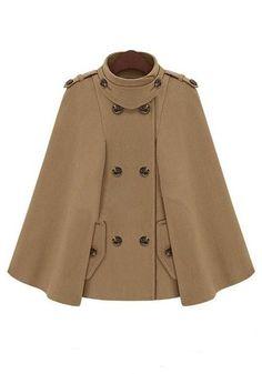 ++ camel plain button pockets band collar wool coat
