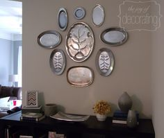 The silver tray wall over the buffet. Works well in a dining area.