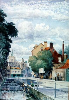 High Street, Carshalton, 1906. One of a series of watercolours by Frank Dickinson (1874-1961) who lived in Little Holland House.