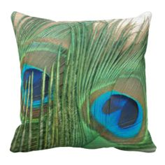 Two Golden Peacock Feathers Still Life Pillows