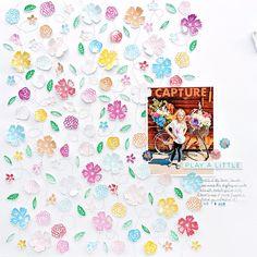 Stamped Flowers Layout by Paige Evans | Paige Taylor Evans Line Background, Scrapbooking Ideas, Scrapbook Layouts, Scrapbook Pages, Digital Scrapbooking, Running Stitch, My Stamp, Swirls, Hand Stitching