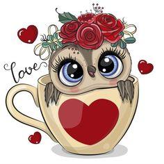 Owl Cartoon, Cute Cartoon Animals, Free Vector Images, Vector Free, Tatty Teddy, Heart Print, Illustrations, String Art, Photos